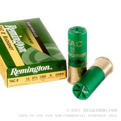 250 Rounds of 12ga Ammo by Remington Tac 8 -  00 Buck - 8 Pellet