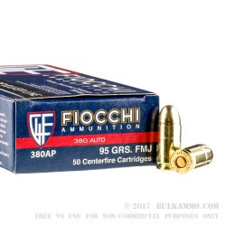 50 Rounds of .380 ACP Ammo by Fiocchi - 95gr FMJ