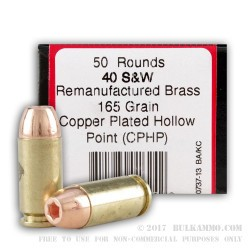 1000 Rounds of .40 S&W Ammo by BVAC - 165gr CPHP