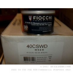 1000 Rounds of .40 S&W Canned Heat Ammo by Fiocchi - 180gr FMJ