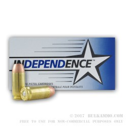1000 Rounds of .40 S&W Ammo by Independence - 180gr FMJ