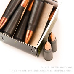 20 Rounds of 7.62x39mm Ammo by Tula - 122gr FMJ