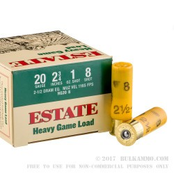250 Rounds of 20ga Ammo by Estate Cartridge Heavy Game Load - 1 ounce #8 shot