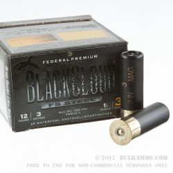 "25 Rounds of 12ga Ammo by Federal Blackcloud - 3"" 1-1/4 ounce #3 Shot"