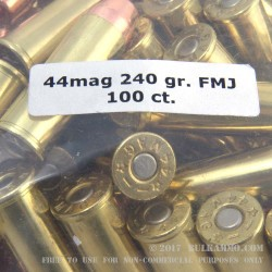 100 Rounds of .44 Mag Ammo by MBI - 240gr FMJ