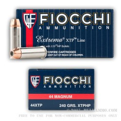 50 Rounds of .44 Mag Ammo by Fiocchi - 240gr XTP JHP