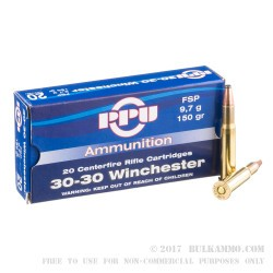 20 Rounds of 30-30 Win Ammo by Prvi Partizan - 150gr FSP