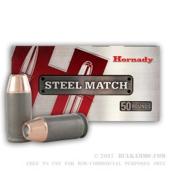 50 Rounds of .45 ACP Ammo by Hornady Steel Match - 185gr JHP
