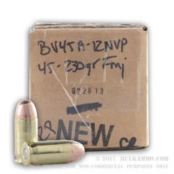 250 Rounds of .45 ACP Ammo by BVAC New - 230gr CPRN