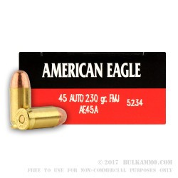 1000 Rounds of .45 ACP Small Pistol Primed Ammo by Federal - 230gr FMJ