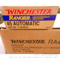 50 Rounds of .45 ACP Ammo by Winchester Ranger T-Series  - 230gr JHP