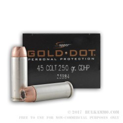 20 Rounds of .45 Long-Colt Ammo by Speer Gold Dot - 250gr JHP
