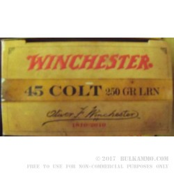 45 Long Colt 250 gr Lead Round Nose Winchester 200 Year Edition For Sale!