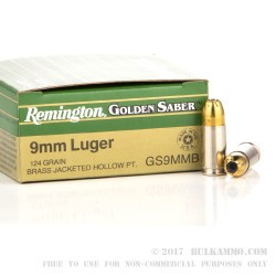25 Rounds of 9mm Ammo by Remington - 124gr JHP