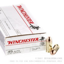 50 Rounds of .45 ACP Ammo by Winchester - 230gr FMJ
