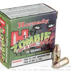250 Rounds of .380 ACP Ammo by Hornady - 90gr Zombie Z-Max
