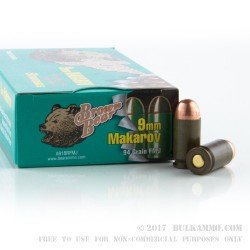 50 Rounds of 9x18mm Makarov Ammo by Brown Bear - 94gr FMJ