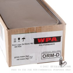 800 Rounds of 9mm Ammo by Wolf Spam Can - 115gr FMJ