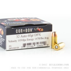 20 Rounds of .32 ACP Ammo by Corbon - 60gr DPX