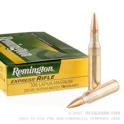 20 Rounds of .338 Lapua Ammo by Remington Express - 250gr HPBT Scenar Match