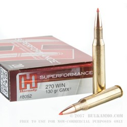 20 Rounds of .270 Win Ammo by Hornady - 130gr GMX