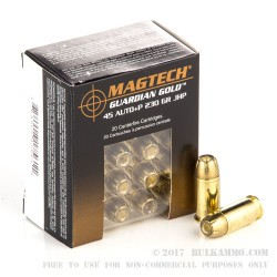 20 Rounds of .45 ACP +P Ammo by Magtech - 230gr JHP