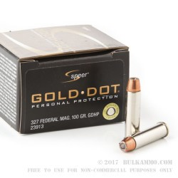 20 Rounds of .327 Federal Mag Ammo by Speer - 100gr JHP
