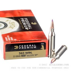 20 Rounds of .243 Win Ammo by Federal Vital-Shok - 55gr Nosler Ballistic Tip