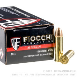 1000 Rounds of .38 Spl Ammo by Fiocchi - 158gr FMJ