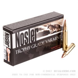20 Rounds of .223 Ammo by Nosler Trophy Grade Varmint Ammunition - 35 gr Polymer Tipped