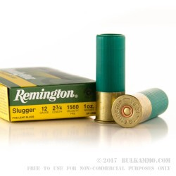 250 Rounds of 12ga Ammo by Remington - 1 ounce Rifled Slug