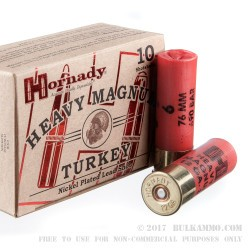 "10 Rounds of 12ga 3"" Turkey Ammo by Hornady - 1 1/2 ounce #6 heavy magnum shot"