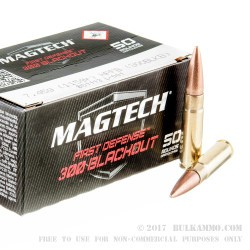 50 Rounds of .300 AAC Blackout Ammo by Magtech First Defense - 115gr Flat Base Hollow-Point (FBHP)