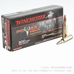 20 Rounds of .300 Win Short Mag Ammo by Winchester Power Max Bonded- 180gr HP