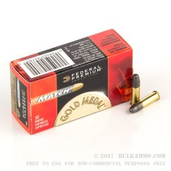 50 Rounds of .22 LR Ammo by Federal Gold Medal Premium Match - 40gr LRN
