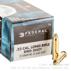 50 Rounds of .22 LR Ammo by Federal - 25gr #12 shot