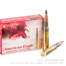 100 Rounds of .50 BMG Ammo by Federal - 618gr Tracer