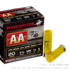 25 Rounds of 20ga Ammo by Winchester AA Low Recoil Target - 7/8 ounce #8 shot