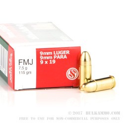 250 Rounds of 9mm Ammo by Sellier & Bellot in Plastic Battle Pack - 115gr FMJ