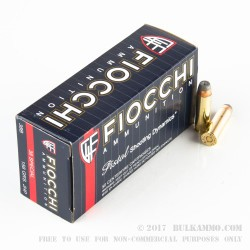 1000 Rounds of .38 Spl Ammo by Fiocchi - 158  Grain JHP