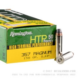 50 Rounds of .357 Mag Ammo by Remington - 158gr SJHP