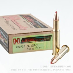 20 Rounds of .32 Win Spl Ammo by Hornady - 165gr FTX