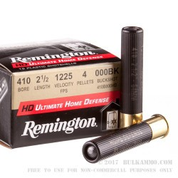 "150 Rounds of .410 Ammo by Remington Home Defense - 2-1/2"" - 000 Buck - 4 Pellets"