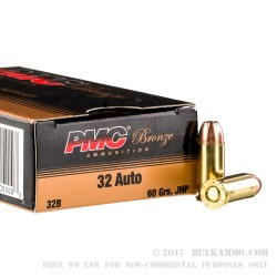 50 Rounds of .32 ACP Ammo by PMC - 60gr JHP