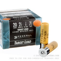 25 Rounds of 20ga Ammo by Federal Top Gun - 7/8 ounce #7 1/2 shot