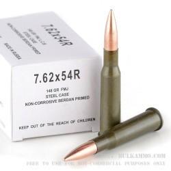 20 Rounds of 7.62x54r Ammo by Wolf - 148gr FMJ