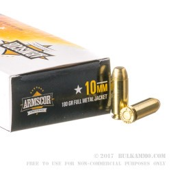 50 Rounds of 10mm Ammo by Armscor Phillipines - 180gr FMJ