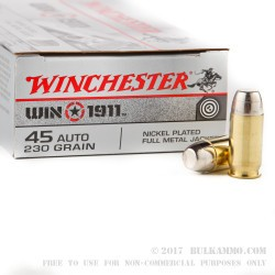 50 Rounds of .45 ACP Ammo by Winchester - Win 1911 Target - 230gr FMJ