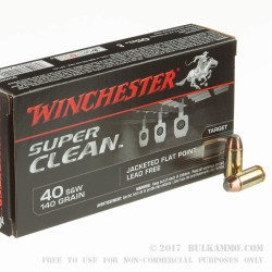50 Rounds of .40 S&W Ammo by Winchester Super Clean - 140gr FMJ