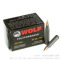 20 Rounds of .223 Ammo by Wolf WPA Polyformance - 62gr FMJ